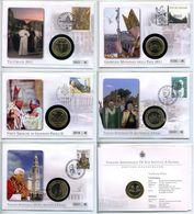 POSTCARD STAMP 5 X BIMETALLIC VATICAN CITY POPE PAPA 02 VIA FATIMA PEACE HEROIC CYPRUS GIOVANNI PAOLO II - Variétés & Curiosités