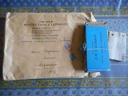 GRANDE ENVELOPPE AVEC ECHANTILLON USINES MONTIES LAFFORGUE FABRIQUE DE COUVRE PIEDS ATELIERS BRODERIE TOULOUSE - Textile & Clothing