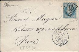LT4530  Variété/n°29B/Enveloppe, Oblit GC étranger 5015 Bône, (Constantine)???? (Algérie), Pour Paris Du 3 Aout 1869 - 1863-1870 Napoléon III Lauré