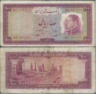 PERSIA PERSE PERSIEN PERSAN IRAN 1954 Mohammad Reza Shah Pahlavi Lotto Banconote 2X100 RI Usati - Iran