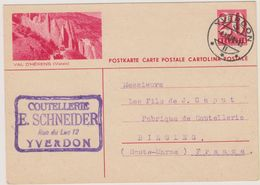 SUISSE - Yverdon - Entier Postal - Val D'Herens - Stamped Stationery
