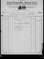 Une Facture   Zinguerie     Ets  : Joseph  Stubenoffen : Altkirch   Année 1922 - France