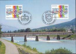 LIECHTENSTEIN MK 134 A, 1 Maximumkarte, 1115 + CH 1558, Schweizerisch-liechtensteinische Nacbarschaft 1995 - Maximum Cards