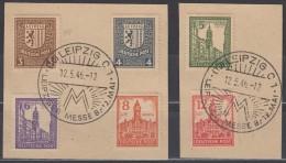 SBZ  West-Sachsen 156-161 X (mit PF 156 I), Auf Briefstück Mit SoSt: Leipzig Messe 12.5.1946, Abschiedsserie 1946 - Zone Soviétique