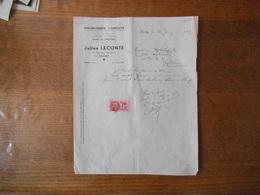 DECHY JULIEN LECONTE AMEUBLEMENTS COMPLETS 37 RUE LEON GAMBETTA FACTURE DU 13 JUIN 1939 TIMBRE D.A 1,20 FRANC - France