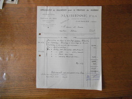 COUSOLRE NORD MAIRESSE FILS SPECIALITE DE MACHINES POUR LE TRAVAIL DU MARBRE CONSTRUCTEUR FACTURE DU 31 MARS 1949 - France