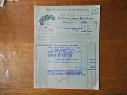 COUSOLRE NORD G. CAPPELIEZ-HENAUT MARBRERIE SCULPTURE GRANDE DECORATION FACTURE DU 8 OCTOBRE 1936 - France