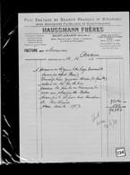 Une Facture   Ets  Haussmann Frères    Année 1953 : Travaux  En Granits  Année 1953 - France