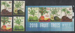 NIUE, 2018, MNH, FRUITS, FRUIT TREES, COCONUTS, AVOCADOS, MANGOES, LIMES,4v+SHEETLET - Fruits