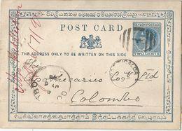 6Rm-646 : POST CARD TWO CENTS  > Colombo.... Met Plooi  1896 - Ceylon (...-1947)