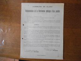 COMMUNE DE CLARY REGLEMENTATION DE LA DISTRIBUTION PUBLIQUE D'EAU POTABLE ARRÊTE 25 JUIN 1930 LE MAIRE MONTIGNY - Historische Dokumente