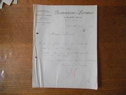 CLARY NORD QUENNESSON-LEVEAUX CONFECTIONS SPECIALITE DE CHEMISES TAIES D'OREILLERS COURRIER DU 26 AVRIL 1912 - France
