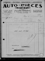 Une Facture   :  Ets   J.J  Dumont & Cie    Année   1924 - Cars