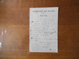 COMMUNE DE CLARY NORD NOTE DU 27 SEPTEMBRE 1915 LE MAIRE - Manuskripte