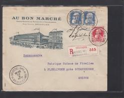 """""""AU BON MARCHE"""",LETTRE RECO. DE BRUXELLES POUR LA SUISSE. - 1905 Breiter Bart"""