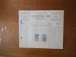 CLARY NORD LEMONNIER-LOR VINS ET SPIRITUEUX TOURTEAUX ET NITRATE GRAINES FOURRAGERES FACTURE DE 1923 TIMBRES QUITTANCES - France