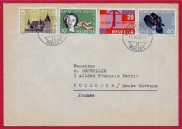 Lettre Suisse Schweiz (série 653-656) 1958 Déposée à Lausanne Malley - Suisse