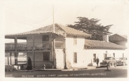 Monterey California, Early Customs House And First Capitol Building, Autos, C1930s/40s Vintage Real Photo Postcard - United States