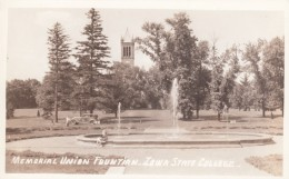 Ames Iowa, Iowa State College, Memorial Union Fountain, Auto, C1940s Vintage Real Photo Postcard - Ames