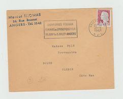"""LSC 1961 - Cachet Et Flamme ANGERS """"championnats Fédéraux Féminins De Gymnastique 30juin 1 Et 2 Juillet Angers"""" - Marcophilie (Lettres)"""