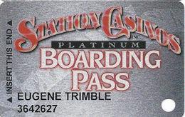 Station Casinos Las Vegas, NV - Slot Card Copyright 2000 - RED Platinum Boarding Pass - Casino Cards