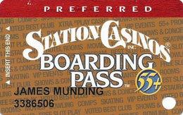Station Casinos Las Vegas, NV - Slot Card Copyright 2002 - Preferred Board Pass 55+ - Casino Cards