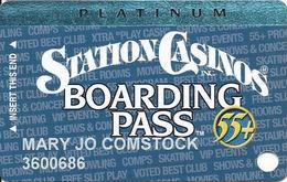 Station Casinos Las Vegas, NV - Slot Card Copyright 2002 - Platinum Board Pass 55+ - Casino Cards