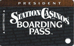Station Casinos Las Vegas, NV - Slot Card Copyright 2002 - President Board Pass BLANK - Casino Cards