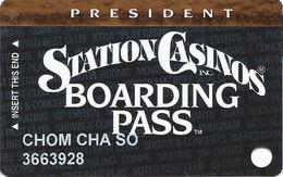 Station Casinos Las Vegas, NV - Slot Card Copyright 2002 - President Board Pass - Casino Cards