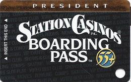 Station Casinos Las Vegas, NV - Slot Card Copyright 2002 - President Board Pass 55+ BLANK - Casino Cards