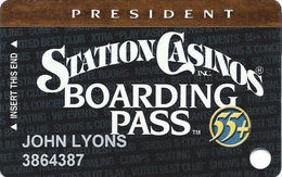 Station Casinos Las Vegas, NV - Slot Card Copyright 2002 - President Board Pass 55+ - Casino Cards