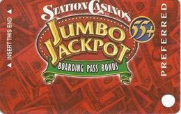 Station Casinos Las Vegas, NV - Slot Card Copyright 2003 - Preferred Jumbo Jackpot 55+ BLANK - Casino Cards