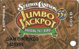 Station Casinos Las Vegas, NV - Slot Card Copyright 2003 - Gold Jumbo Jackpot 55+ - Casino Cards