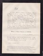 LIEGE XHOS Baronne De COPIS Née Françoise-Louise De MEAN 77 Ans 1869 Famille D'OULTREMONT De WARFUSEE - Obituary Notices