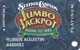 Station Casinos Las Vegas, NV - Slot Card Copyright 2003 - Platinum Jumbo Jackpot - Casino Cards