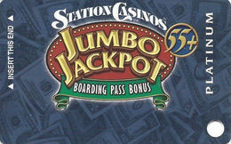 Station Casinos Las Vegas, NV - Slot Card Copyright 2003 - Platinum Jumbo Jackpot 55+ BLANK - Casino Cards