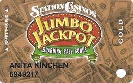 Station Casinos Las Vegas, NV - Slot Card Copyright 2004 - Gold Jumbo Jackpot - Casino Cards