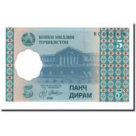Billet, Tajikistan, 5 Diram, 1999 (2000), KM:11a, NEUF - Tadjikistan