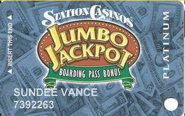 Station Casinos Las Vegas, NV - Slot Card Copyright 2007 - Platinum Jumbo Jackpot - Casino Cards
