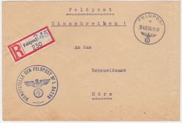 """GERMANY 1941 (16.10.) REG.FIELDPOST COVER FP L 34298(revised Label """"345"""") TO MOERS - Allemagne"""