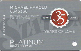 Station Casinos Las Vegas, NV - Slot Card Copyright 2011 - Platinum / Small Space Under Logos - Casino Cards