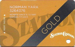 Station Casinos Las Vegas, NV - Slot Card Copyright 2012 - Gold - Casino Cards