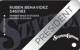 Station Casinos Las Vegas, NV - Slot Card Copyright 2012 - President - Casino Cards
