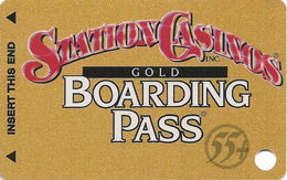 Station Casinos Las Vegas, NV - Slot Card Copyright 2001 - Gold Boarding Pass 55+ BLANK - Casino Cards