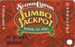 Station Casinos Las Vegas, NV - Slot Card Copyright 2003 - Preferred Jumbo Jackpot / SF GUEST - Casino Cards