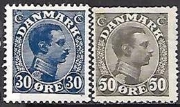 Denmark 1922 Sc#113, 122  30o & 50ore  MH*  2016 Scott Value $9.25 - 1913-47 (Christian X)