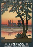 Chemin De Fer De P.O. Orléans La Loire Et La Cathédrale - Postcard Reproduction - Publicité