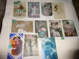 LOT DE 11 CPA FANTAISIES...FEMMES..COUPLE..ENFANTS..BONNE ANNEE - 5 - 99 Karten