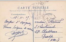 CARTE. EN FM. 19 11 15. 7° REGIMENT DU GENIE. FRANCHISE MILITAIRE POSTALE. AVIGNON POUR GRASSE - Postmark Collection (Covers)