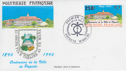 Enveloppe  FDC  1er  Jour   POLYNESIE   Centenaire  De  La  Ville  De  PAPEETE   1990 - FDC